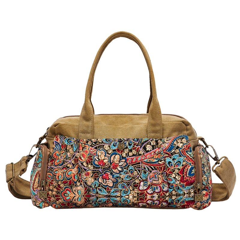 Camel Brown Red and Blue Bohemian National Style Indian Tribal Print Embroidery Canvas Retro Chic Casual Women Medium Crossbody Tote Bag