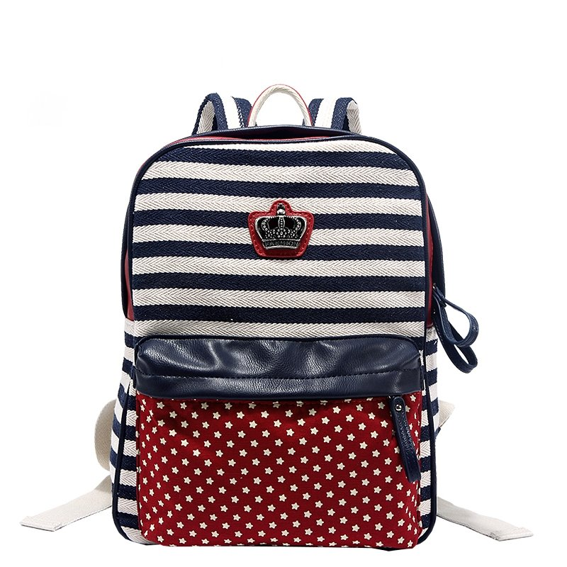 Dark Blue Red and White American Preppy Style Star and Stripe Print Casual Metal Crown Canvas Girl Satchel Backpack Box Messenger School Bag