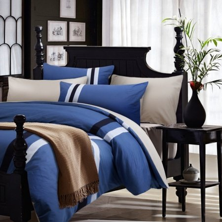 Sapphire Blue White and Black Solid Color Stripe Print Simply Chic Traditional and Cool 100% Cotton Full, Queen Size Bedding Sets for Man