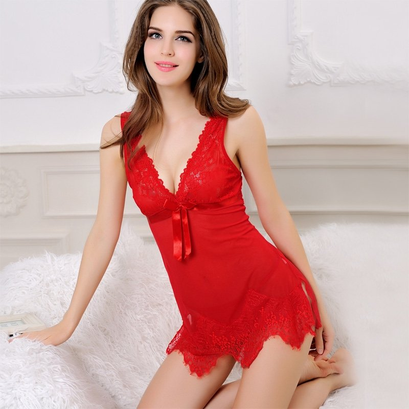 Scarlet Red Women 2 Piece S M L Sexy Seductive Lace Hollow Out Luxury Terylene Polyester Fashion V-neck Skirt Sleeveless Thin Summer Pajamas