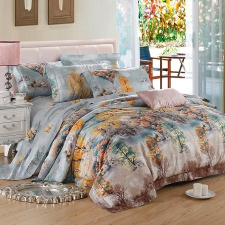 Light Blue Orange Yellow and Brown Autumn Scene Jungle Tree Rustic Style Nature Luxury 100% Egyptian Cotton Full, Queen Size Bedding Sets