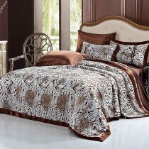 Chocolate and White Sexy Tiger Stripe Shabby Chic Classic Luxury Gypsy Themed Personalized 100% Mulberry Silk Full, Queen Size Bedding Sets