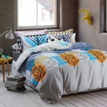Flame Aqua Blue and Grey Tree Print Country Chic Cartoon Abstract Design Personalized Teen Boys 300 Thread Count Twin, Full Size Bedding Sets