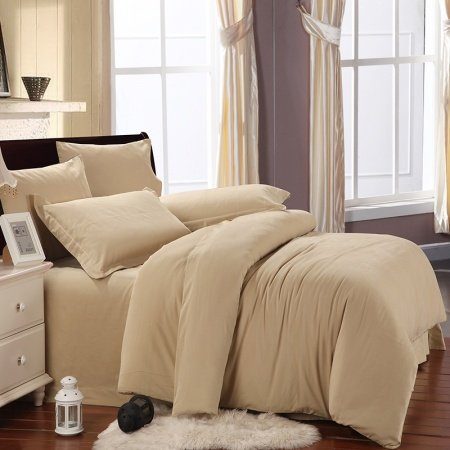 Plain Tan Colored Luxury Retro Style Simply Chic Traditional Soft Durable 100% Brushed Cotton Full, Queen Size Bedding Sets