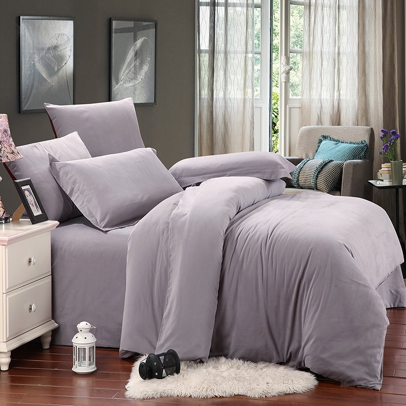 All Silver Color Classic Simply Chic Shabby Chic Western Style Soft Durable 100% Brushed Pure Cotton Mens Full, Queen Size Bedding Sets