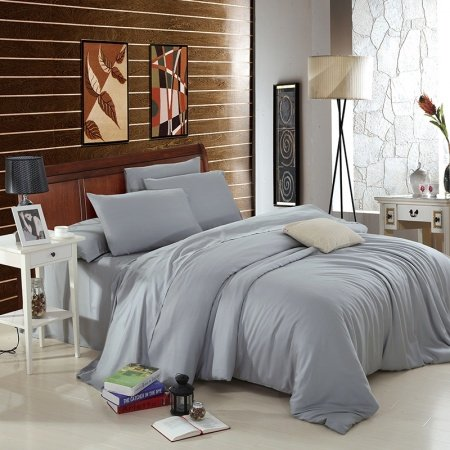 All Grey Plain Colored Retro Style Shabby Chic Luxury Expensive 100% Microfiber Tencel Percale Fabric Mens Full, Queen Size Bedding Sets