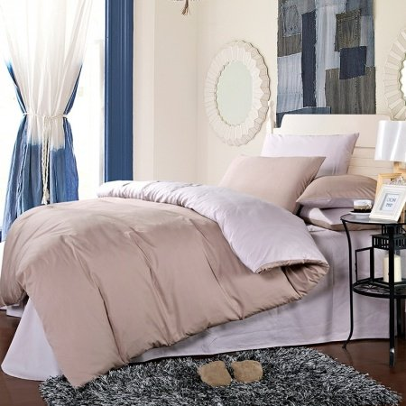 Camel and Silver Pure Color Shabby Chic Retro Style Simply Old World Reversible Microfiber Cotton Percale Fabric Full, Queen Size Bedding Sets