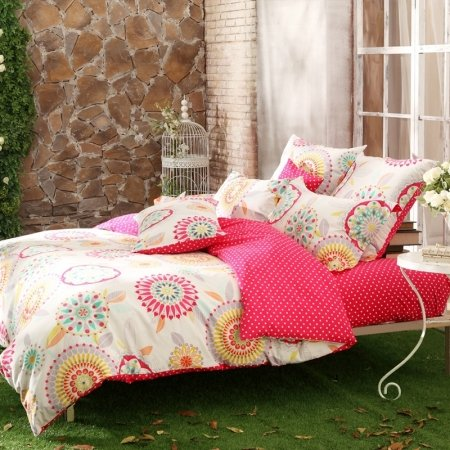Red Cream Yellow and Grey Tribal Pattern Polka Dot Design Bohemian Chic Southwestern Style All Cotton Full, Queen Size Bedding Sets