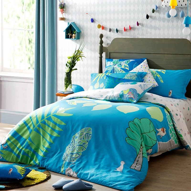 Azure Blue Green and White Tropical Natural Plant Fern Print Exotic Southwestern Style 100% Cotton Damask Full, Queen Size Bedding Sets