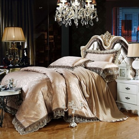 Champagne and Gray Paisley and Scroll Pattern Vintage Bohemian Style Luxury Southwestern Jacquard Design Full, Queen Size Bedding Sets