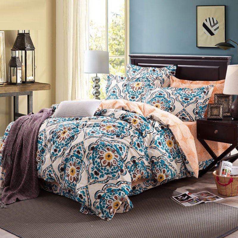 Peacock Blue Beige and Cream Vintage Bohemian Style Tribal Print Arabian Theme Reversible 100% Cotton Full, Queen Size Bedding Sets
