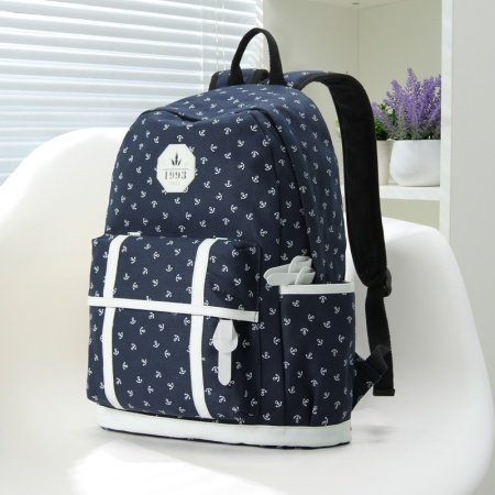 Dark Blue Canvas with White Leather Trim Cute Nautical Anchor Print School Backpack Vogue Elegant Sewing Pattern Women Travel Bag