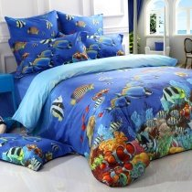 Ocean Blue Colorful Marine Life 3D Undersea World Fish and Coral Reef Print Girls, Boys, Kids 100% Cotton Twin, Full, Queen Size Bedding Sets