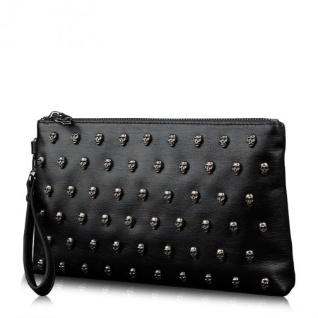 Solid Black Luxury Cowhide Leather Skull Rivet Cool Men Clutch Bag Multiple Inside Pockets American Style Small Handle Bag