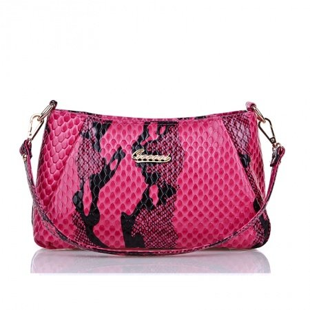 Hot Pink Black Embossed Patent Leather Baguette Bag Fine Snake Serpentine Tote Casual Party Sequined Small Crossbody Shoulder Purse