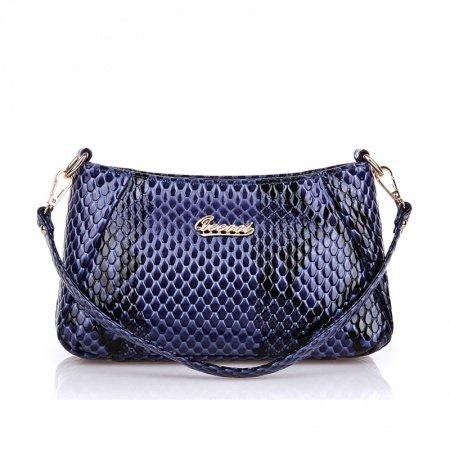 Violet-blue Black Embossed Patent Leather Baguette Bag European Style Tote Fine Snake Serpentine Women Small Crossbody Shoulder Purse