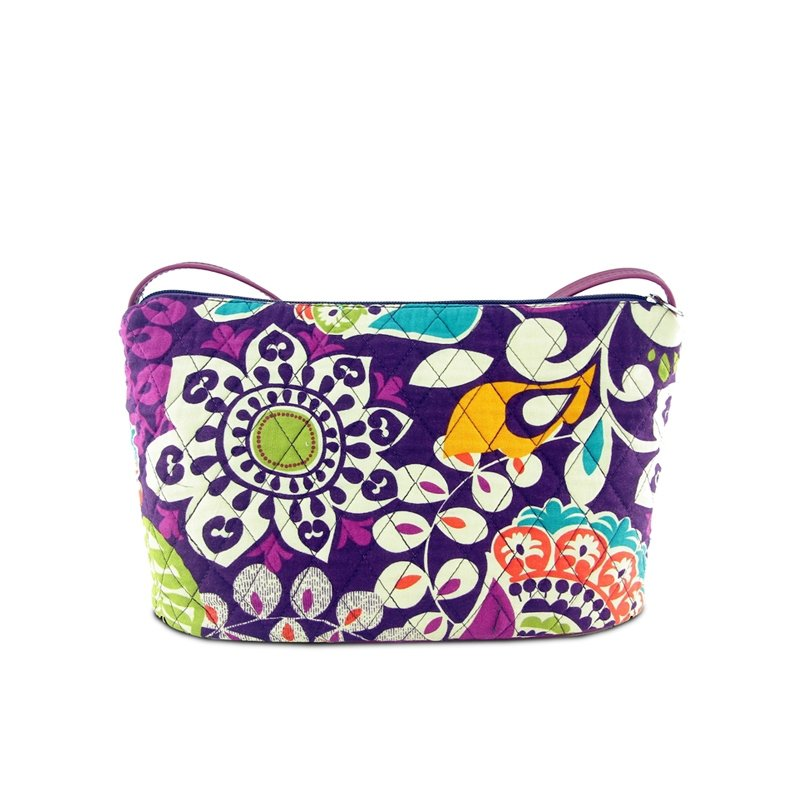 Purple White Bohemian Moroccan Tribal Floral Print Durable Canvas Lady Makeup Bag Gorgeous Casual Party Wedding Crossbody Shoulder Bag