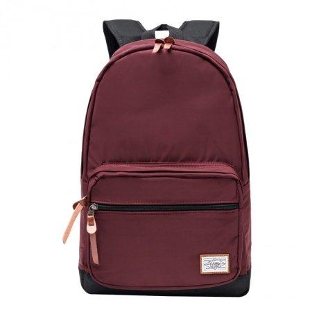 Burgundy Red and Black Water-proof Nylon Girls School Backpack Trendy Korean Style Color Blocking Sewing Pattern Travel Bag