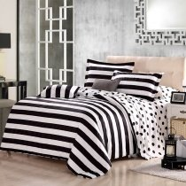 Black and White Polka Dot and Stripe Print Modern Chic Traditional Reversible 100% Organic Cotton Full, Queen Size Bedding Sets