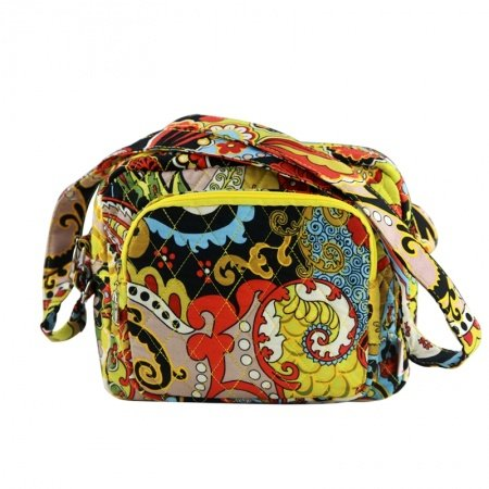Stylish Durable Canvas Bohemian Hippie Style Small Box-shaped Shoulder Bag Colorful Scroll Print Vintage Casual Crossbody Bag