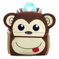 Personalized Cute Animal Monkey Head-shaped Toddler School Backpack Coffee Brown Beige Fashion Durable Kids Book Bag for Girls Boys