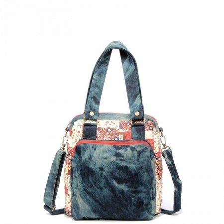 Durable Denim Blue White Red Jean Casual Girls School Book Bag Stylish Bohemian Floral Diaper Tote Vintage Trend Crossbody Shoulder Bag