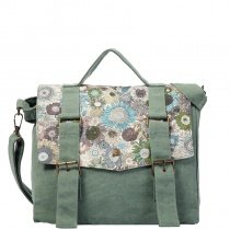 Durable Sage Green Canvas Colorful Chrysanthemum Flap Messenger Bag Trend Simply Chic Casual Lady Large Crossbody Shoulder Tote Bag