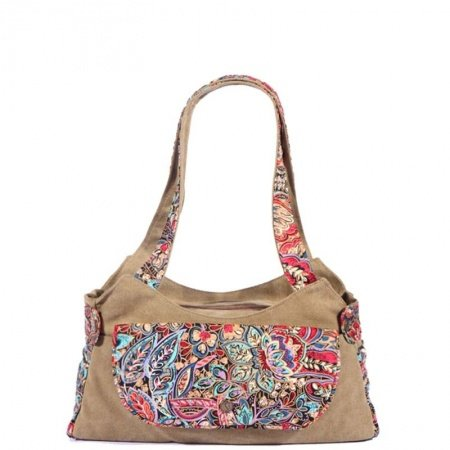 Durable Vintage Canvas Casual Lady Pillow-shaped Saddle Bag Camel Brown Blue Red Bohemian Western Floral Korean Style Shoulder Tote Bag
