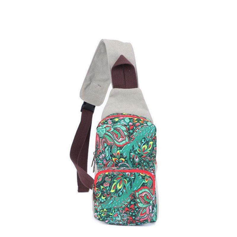 Colorful Durable Canvas Casual Women Small Sling Crossbody Chest Bag Personalized Retro Bohemian Indian Floral Travel Hiking Bosom Bag