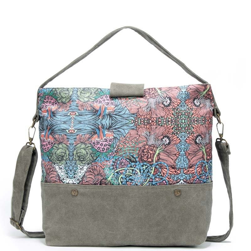 Durable Taupe Blue Pink Canvas Casual Women Tote Personalized Bohemian Colorful Floral Zipper with Lock Trim Crossbody Shoulder Bag