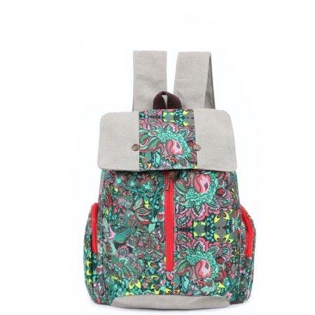 Pigment Green Silver Pink Canvas Large Bucket Drawstring Flap Travel Backpack Vintage Bohemian Floral Print Women 14 Inch Laptop Bag