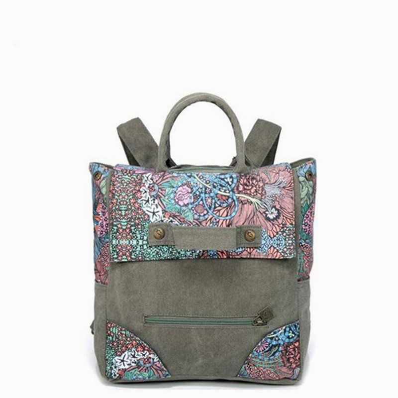 Durable Taupe Canvas with Blue Pink Satin School Backpack Vintage Bohemian Western Floral Print Studded Girls Book Tote Bag