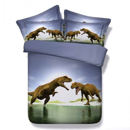 Slate Gray Brown and White Scary Dinosaur Print 3D Jurassic Jungle Safari Themed Modal Fiber Twin, Full, Queen, King Size Bedding Sets
