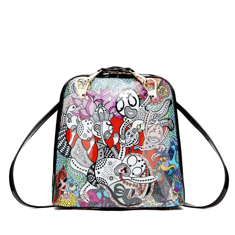 Durable Water-proof PVC Backpack Colorful Bohemian Hip-hop Punk Style Personalized Cartoon Character Cute Girls Shell-shaped Tote Bag
