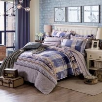 Tufts Blue Grey and Brown Western Tartan Plaid and Stripe Shabby Chic Masculine Style 100% Brushed Cotton Full, Queen Size Bedding Sets