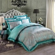 Turquoise and Gray Vintage Flower Pattern Exotic Elegant Luxury Jacquard Design Satin Fabric Full, Queen Size Bedding Sets