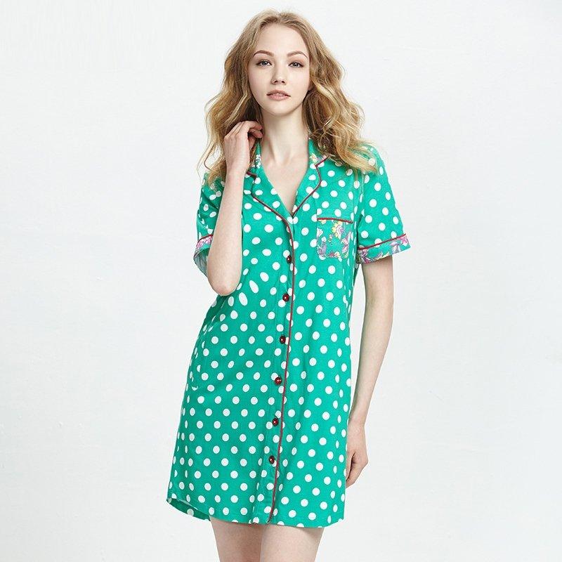 Green White Polka Dots Color Block Trendy Women Cotton Modal Lace Lapel Short Sleeve Dress Summer M L XL XXL Pajamas