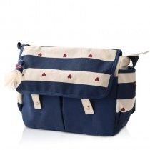 Durable Canvas Preppy School Satchel Stylish Deep Blue Beige Rugby Stripe Red Heart Print Girls Flap Messenger Crossbody Shoulder Bag
