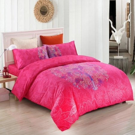 Girls Raspberry Red Blue and White Indian Pattern Modern Bohemian Style Abstract Design 100% Cotton Damask Full, Queen Size Bedding Sets