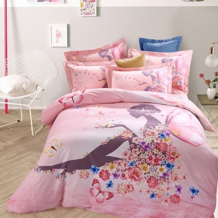 Pink and Coffee Butterfly Princess Stylish Cute Girly Unique Design 100% Brushed Cotton Full, Queen Size Bedding Sets