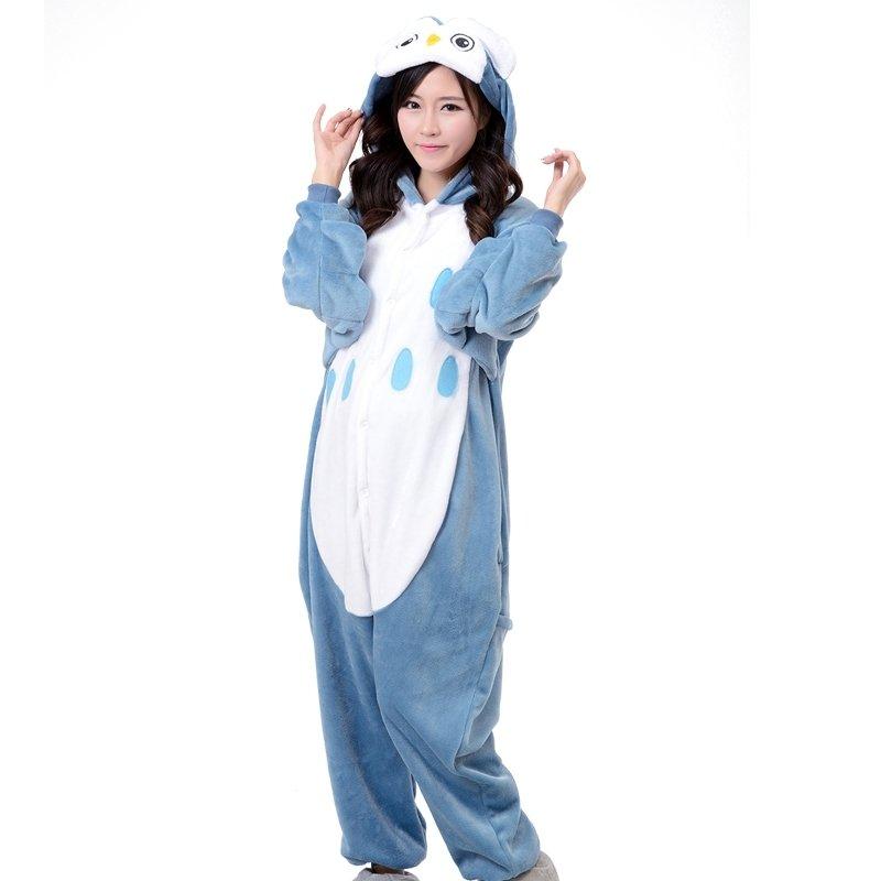 Blue White Warm Winter Animal Owl Pattern Jumpsuit Romper Hooded Pocket Flannel Adult Women Unisex Pajamas Toileting Version