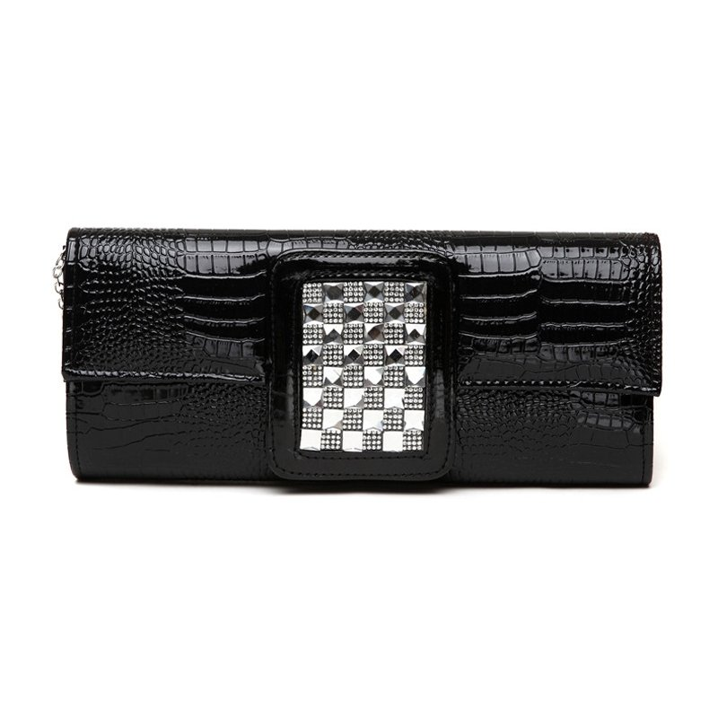 Plain Black Patent Leather Glitter Rhinestone Studded Flap Evening Clutch Luxury Embossed Crocodile Chain Small Crossbody Shoulder Bag