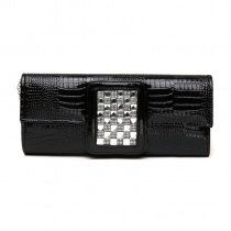 Plain Black Patent Leather Glitter Rhinestone Studded Flap Evening Clutch Luxury Embossed Crocodile Chain Small Crossbody Shoulder Bag