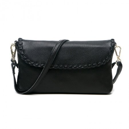 Gorgeous Durable Solid Black Genuine Cowhide Leather with Fashion Braided Zipper Simply Chic Women Casual Party Flap Crossbody Shoulder Bag
