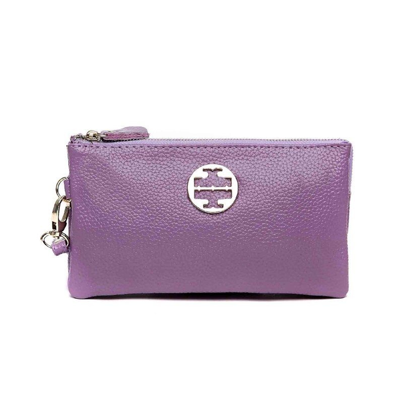 Amethyst Purple Genuine Cowhide Leather Women Evening Party Clutch Wallet Hipster Sewing Pattern Sequin Small Coin Purse Wristlet