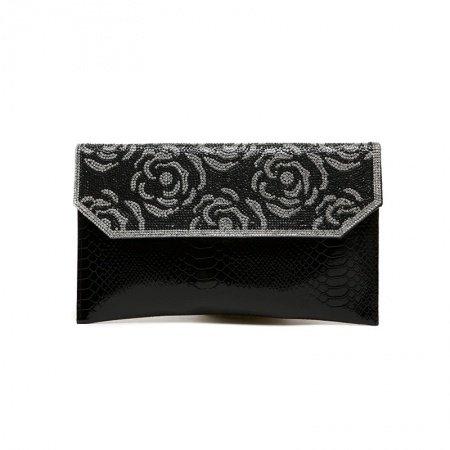 Black Patent Leather Vintage Rose Envelope Evening Party Clutch Stylish Embossed Crocodile Rhinestone Studded Small Crossbody Shoulder Bag