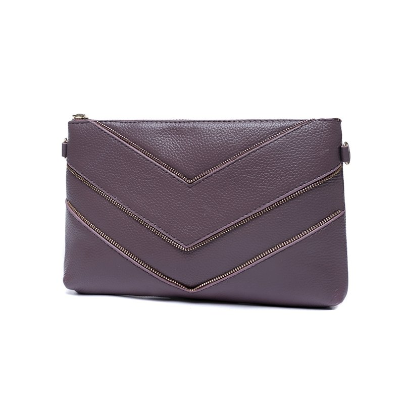 Durable Plain Purple Genuine Cowhide Leather Casual Evening Party Envelope Clutch Vogue Sewing Pattern Women Small Crossbody Shoulder Bag