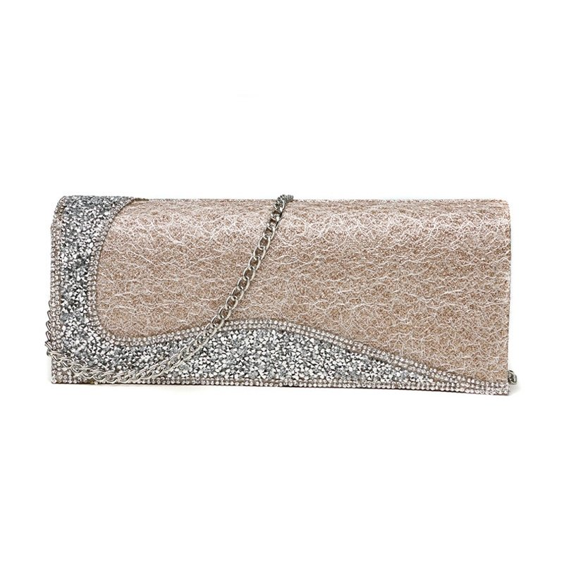 Gorgeous Gold Magnet Buckle Casual Party Evening Clutch Personalized Rhinestone Studded Chain Strap Women Small Flap Crossbody Shoulder Bag