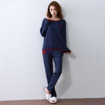 Solid Dark Blue Shirt and Trousers 100% Cotton Outerwear Relaxed fit Pajamas for Girls Lady