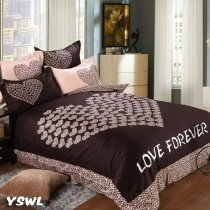 Dark Chocolate Brown Love Letter and Victorian Heart Print with Sexy Leopard, Cheetah Full, Queen Size Bedding Sets